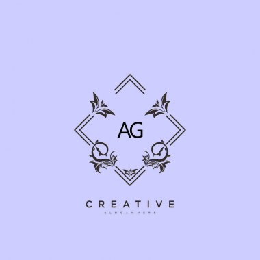 AG Beauty vector initial logo art, handwriting logo of initial signature, wedding, fashion, jewerly, boutique, floral and botanical with creative template for any company or business. icon
