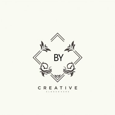 Initial BY beauty monogram and elegant logo design icon
