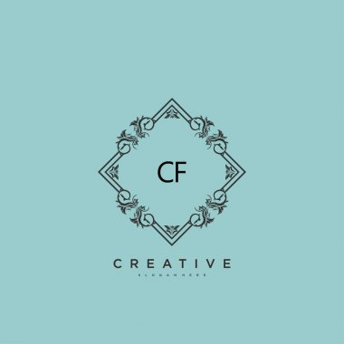 CF Beauty vector initial logo art, handwriting logo of initial signature, wedding, fashion, jewerly, boutique, floral and botanical with creative template for any company or business. icon