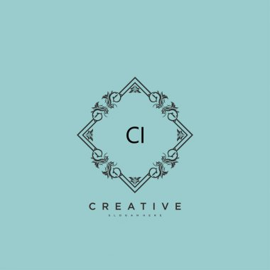 CI Beauty vector initial logo art, handwriting logo of initial signature, wedding, fashion, jewerly, boutique, floral and botanical with creative template for any company or business. icon