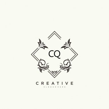 CQ Beauty vector initial logo art, handwriting logo of initial signature, wedding, fashion, jewerly, boutique, floral and botanical with creative template for any company or business. icon