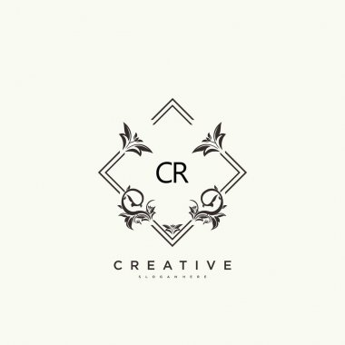 CR Beauty vector initial logo art, handwriting logo of initial signature, wedding, fashion, jewerly, boutique, floral and botanical with creative template for any company or business. icon
