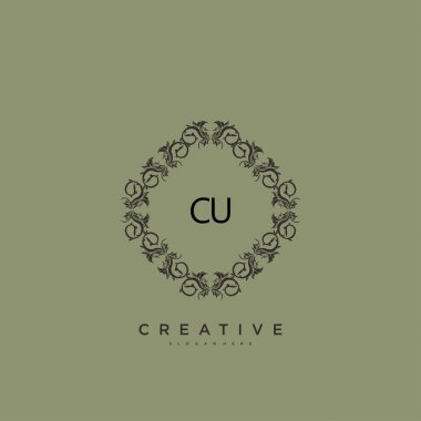 CU Beauty vector initial logo art, handwriting logo of initial signature, wedding, fashion, jewerly, boutique, floral and botanical with creative template for any company or business. icon