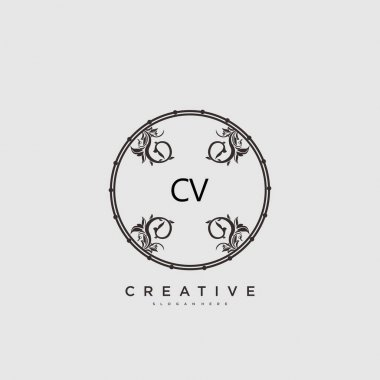 CV Beauty vector initial logo art, handwriting logo of initial signature, wedding, fashion, jewerly, boutique, floral and botanical with creative template for any company or business. icon
