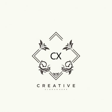 CX Beauty vector initial logo art, handwriting logo of initial signature, wedding, fashion, jewerly, boutique, floral and botanical with creative template for any company or business. icon