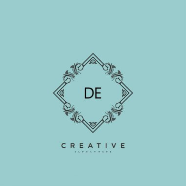 DE Beauty vector initial logo art, handwriting logo of initial signature, wedding, fashion, jewerly, boutique, floral and botanical with creative template for any company or business. icon