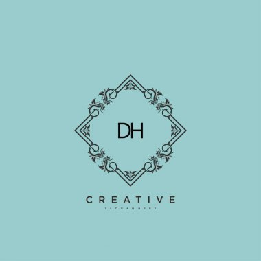 DH Beauty vector initial logo art, handwriting logo of initial signature, wedding, fashion, jewerly, boutique, floral and botanical with creative template for any company or business. icon