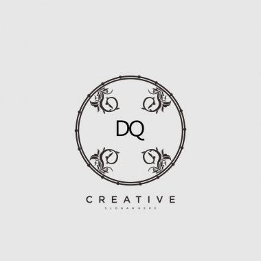 DQ Beauty vector initial logo art, handwriting logo of initial signature, wedding, fashion, jewerly, boutique, floral and botanical with creative template for any company or business. icon