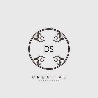 DS Beauty vector initial logo art, handwriting logo of initial signature, wedding, fashion, jewerly, boutique, floral and botanical with creative template for any company or business. icon