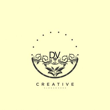 DV Beauty vector initial logo art, handwriting logo of initial signature, wedding, fashion, jewerly, boutique, floral and botanical with creative template for any company or business. icon