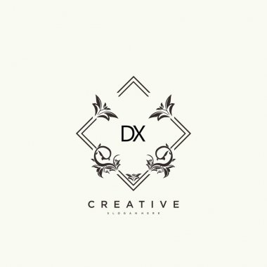 DX Beauty vector initial logo art, handwriting logo of initial signature, wedding, fashion, jewerly, boutique, floral and botanical with creative template for any company or business. icon