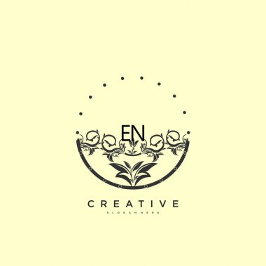EN Beauty vector initial logo art, handwriting logo of initial signature, wedding, fashion, jewerly, boutique, floral and botanical with creative template for any company or business. icon