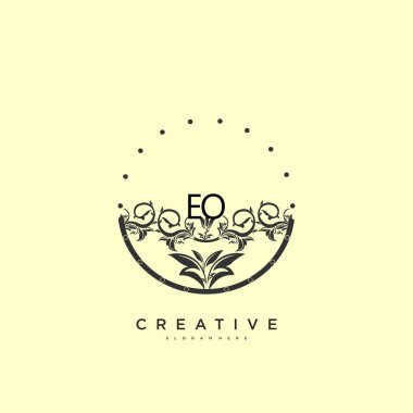 EO Beauty vector initial logo art, handwriting logo of initial signature, wedding, fashion, jewerly, boutique, floral and botanical with creative template for any company or business. icon
