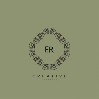 ER Beauty vector initial logo art, handwriting logo of initial signature, wedding, fashion, jewerly, boutique, floral and botanical with creative template for any company or business. icon
