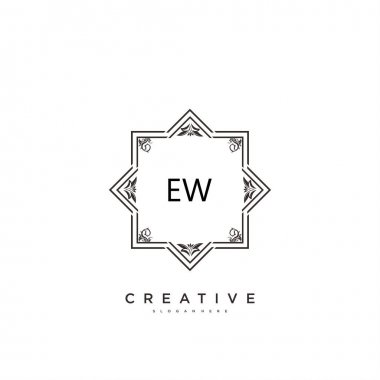 EW Beauty vector initial logo art, handwriting logo of initial signature, wedding, fashion, jewerly, boutique, floral and botanical with creative template for any company or business. icon