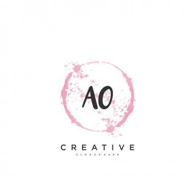 AO Beauty vector initial logo, handwriting logo art design of initial signature, wedding, fashion, jewerly, boutique, floral and botanical with creative template for any company or business.