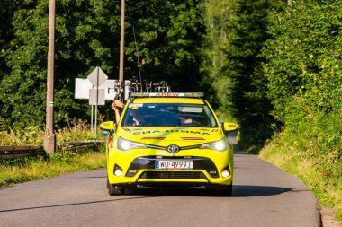 PORBKA NEAR BIELSKO-BIALA, POLAND - AUGUST 13, 2021: Cycling race