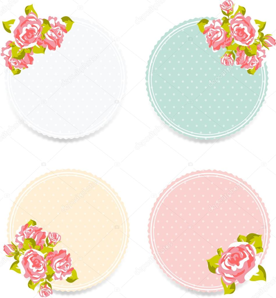 Shabby Chic Floral Frames Stock Vector 80938408