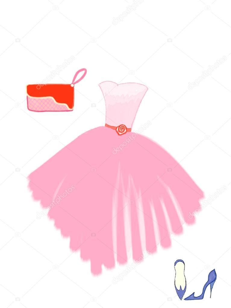 Dibujado Vestido de color rosa, rojo embrague y bombas azul de niña ...