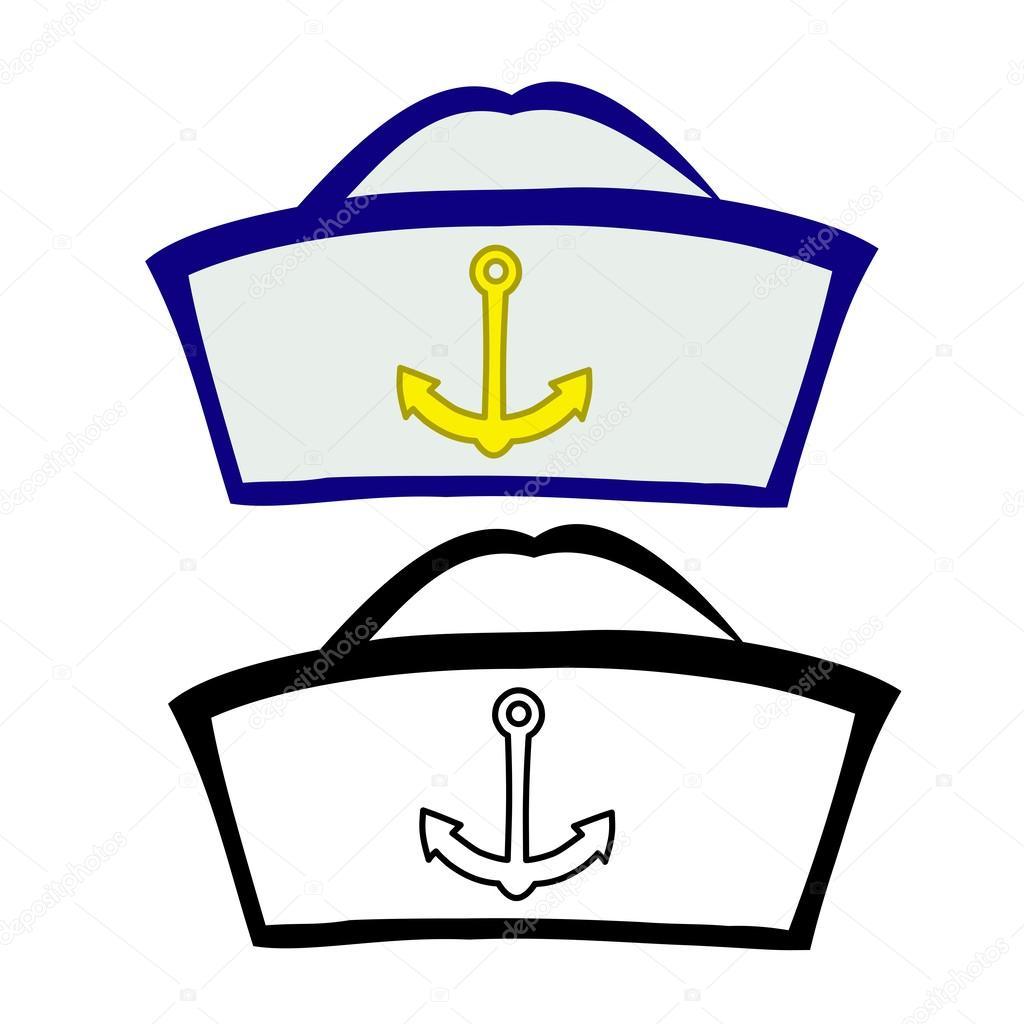 6ef76327f07b1 Vector ilustración  gorro de marinero en un fondo blanco - dibujos  gorros  marineros — Vector de ...