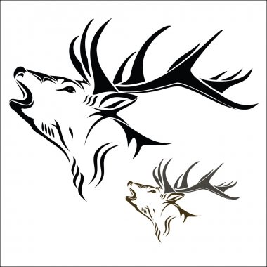 Vector illustration : Deer head on a white background. stock vector