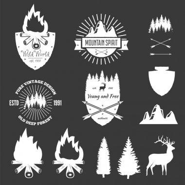 Retro Vintage Logotypes or insignias set. Vector design elements.