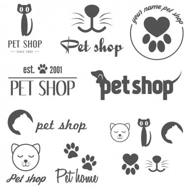 Set of vintage logo and logotype elements for pet shop, pet house and pet clinic