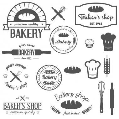 Set of vintage bakery logos, labels, badges and design elements