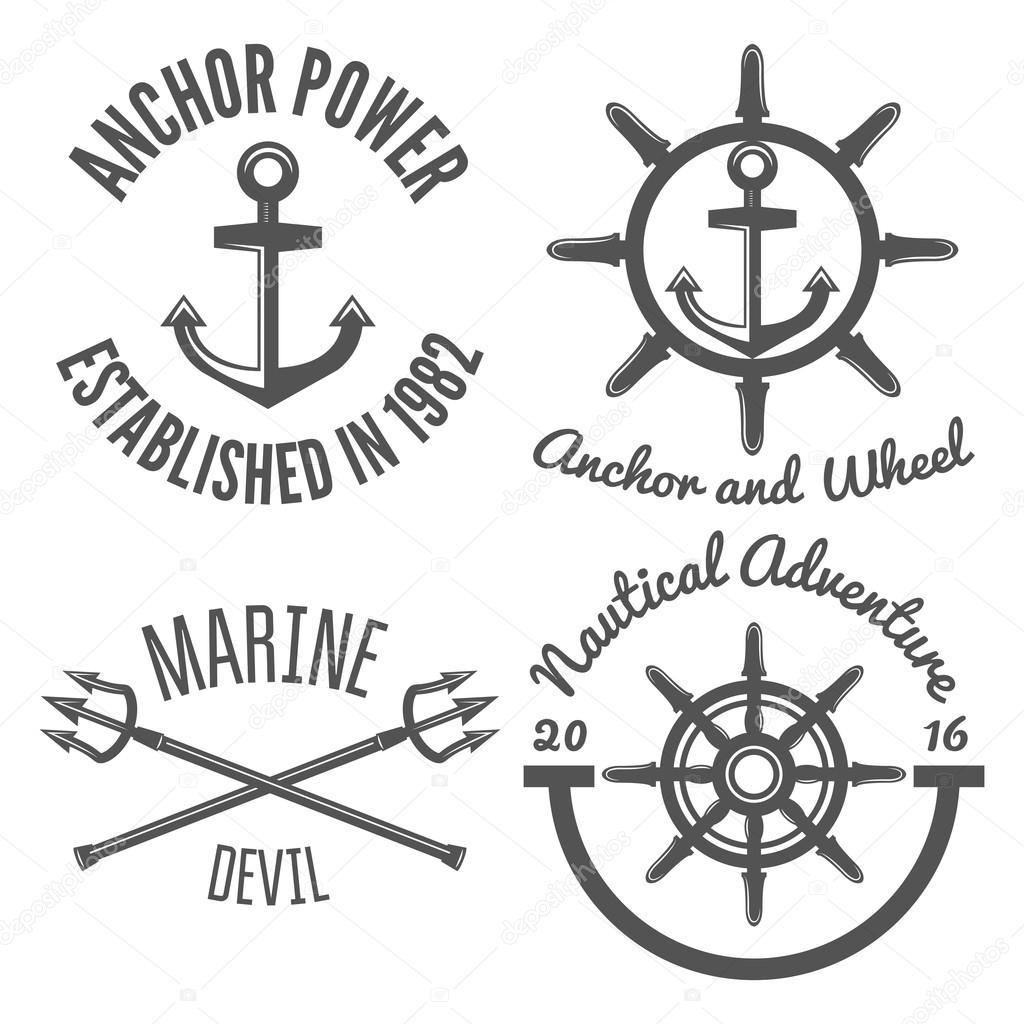 Satz von retro Vintage nautische Etiketten und Abzeichen Logo ...
