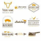 Photo Set of labels templates and logo of butchery meat shop and logotype elements