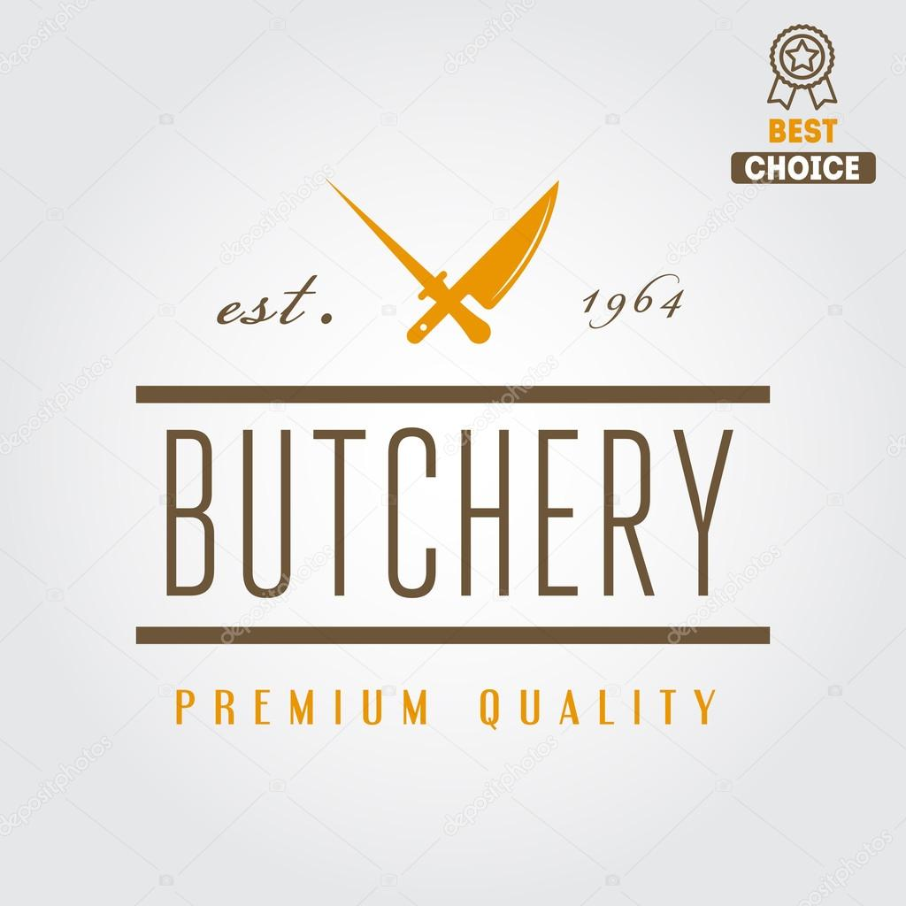 vintage label badge emblem templates and logo of butchery or meat