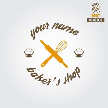 Logo, label, emblem or badge for bakery or baker shop