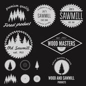 Photo Set of logo, labels, badges and logotype elements for sawmill, carpentry and woodworkers