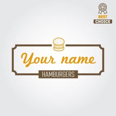 Logo, label, sticker for fast food restaurant, cafe, hamburger and burger