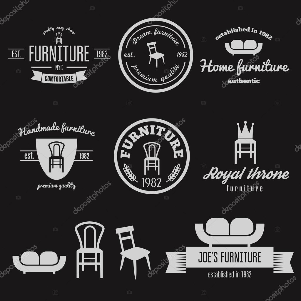 vintage furniture logo. Brilliant Vintage Set Of Vintage Logo Badgeemblem And Logotype Elements For Furniture Shop  U2014 Stock For Vintage Furniture Logo