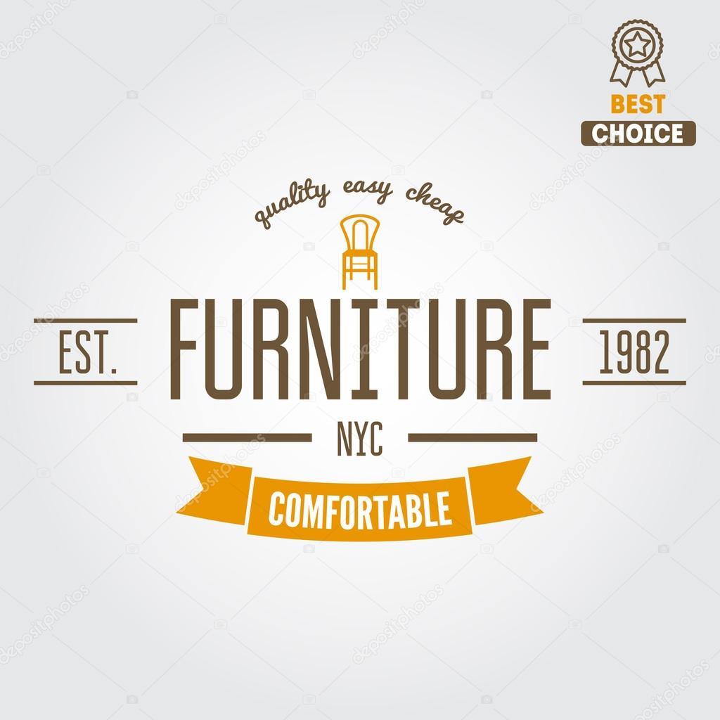 vintage logo badgeemblem or logotype for furniture shop u2014 stock vector