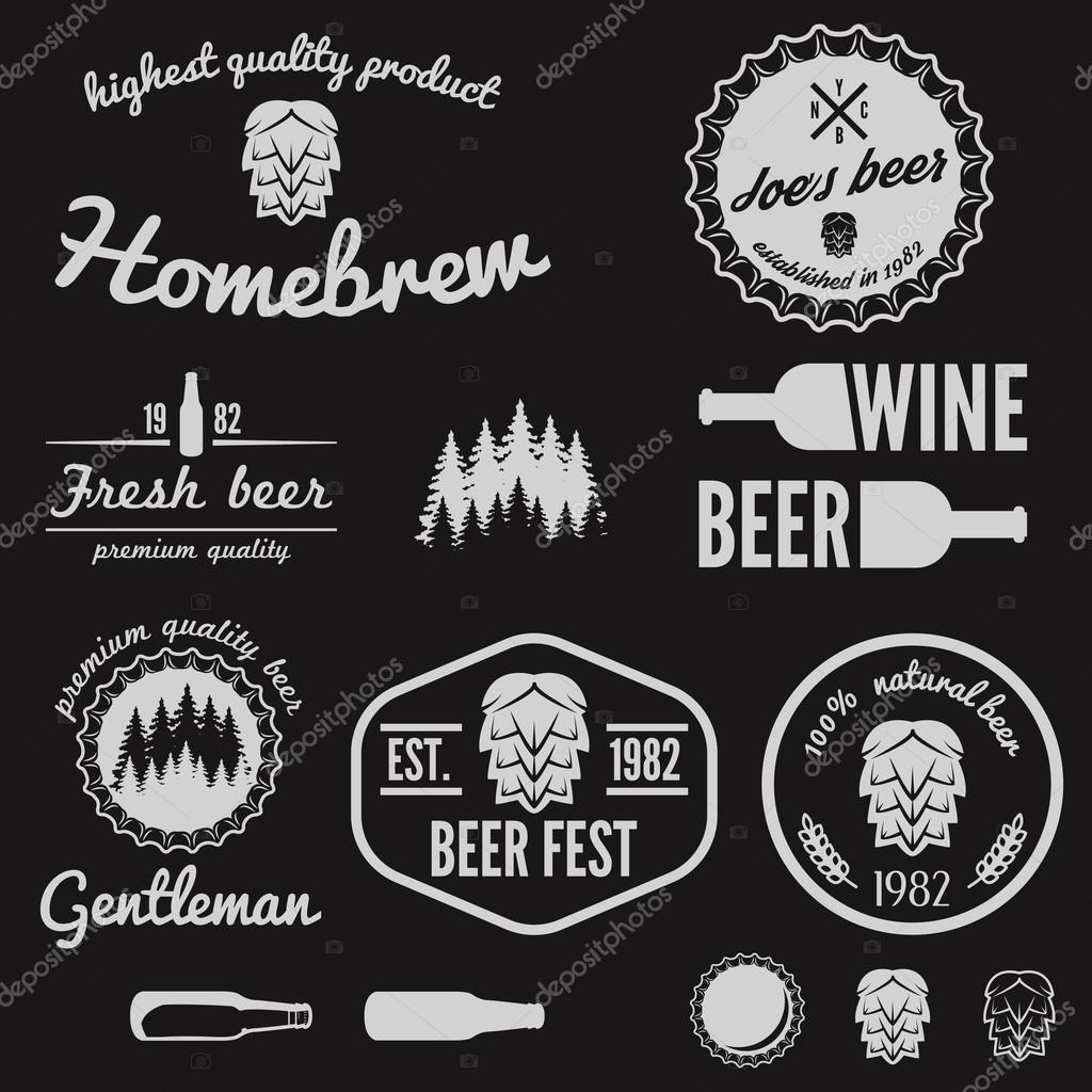 set of vintage logo badge emblem or logotype elements