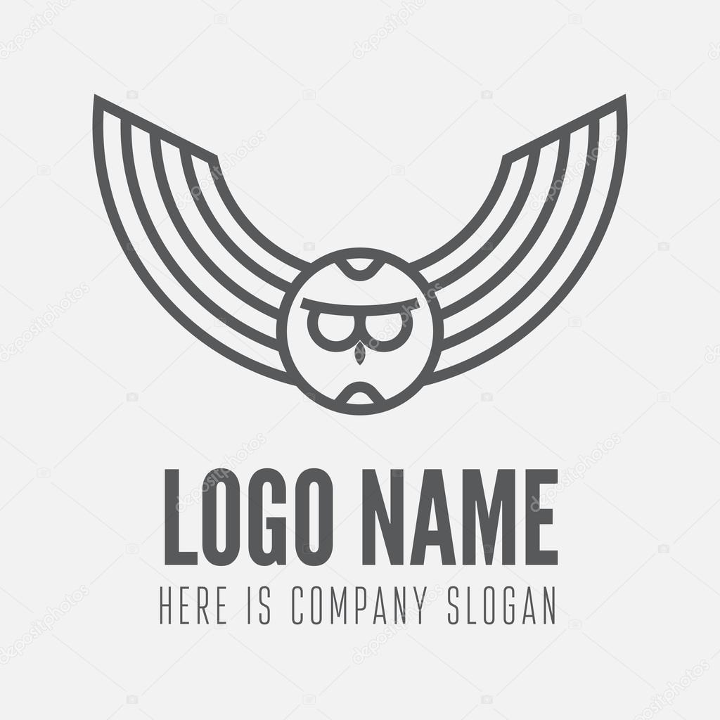 Logo Label Badge Emblem Or Logotype Element With Owl For Business