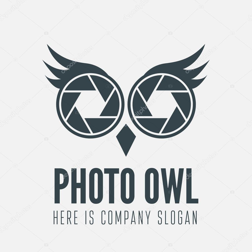 Logo Label Badge Emblem Or Logotype Element With Owl And Shutter