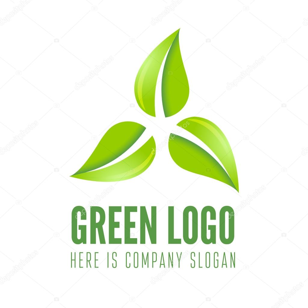Logo Label Badge Emblem Or Logotype Element With Leafs And Green