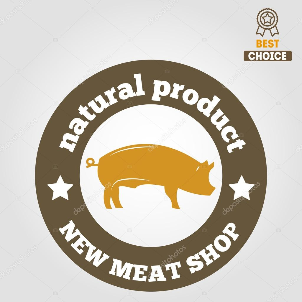 vintage labels logo emblem templates of butchery meat shop