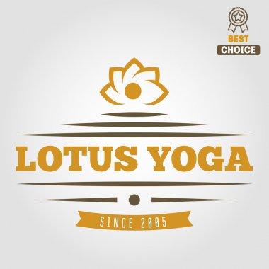 Vintage logo, badge, emblem or logotype elements for yoga club