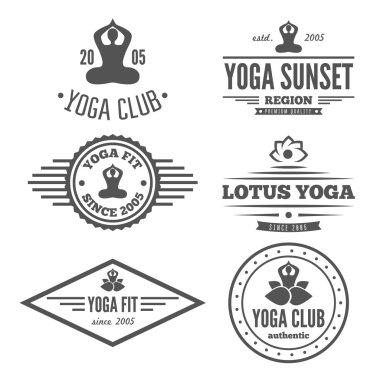 Set of vintage logo, badge, emblem or logotype elements for yoga club