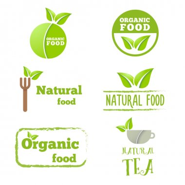 Set of logo, labels, badges, emblems and logotype elements with leafs for web, business corporate identity or other design