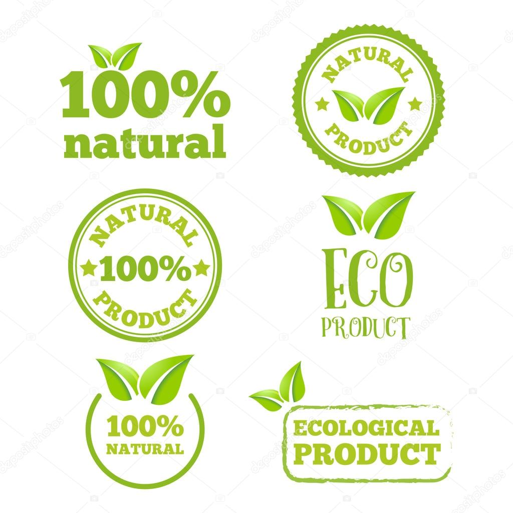 Logo, badge, label, logotype elements with leafs for web, business or natural products