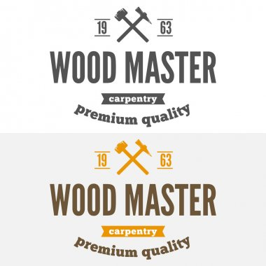 Vintage logo, label, badge and logotype elements for sawmill, carpentry or woodworkers