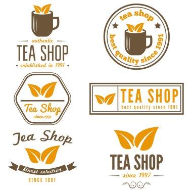 Set of vintage labels, emblems, and logo templates for coffee, tea shop, cafe, cafeteria, bar or restaurant