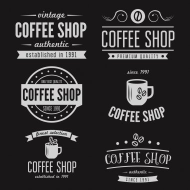 Set of vintage labels, emblems, and logo templates for coffee shop, cafe, cafeteria, bar or restaurant