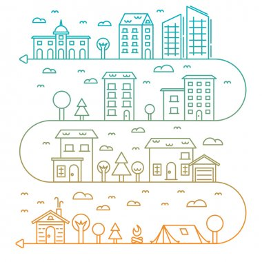 Vector city illustration in linear style buildings, trees and clouds - graphic design template