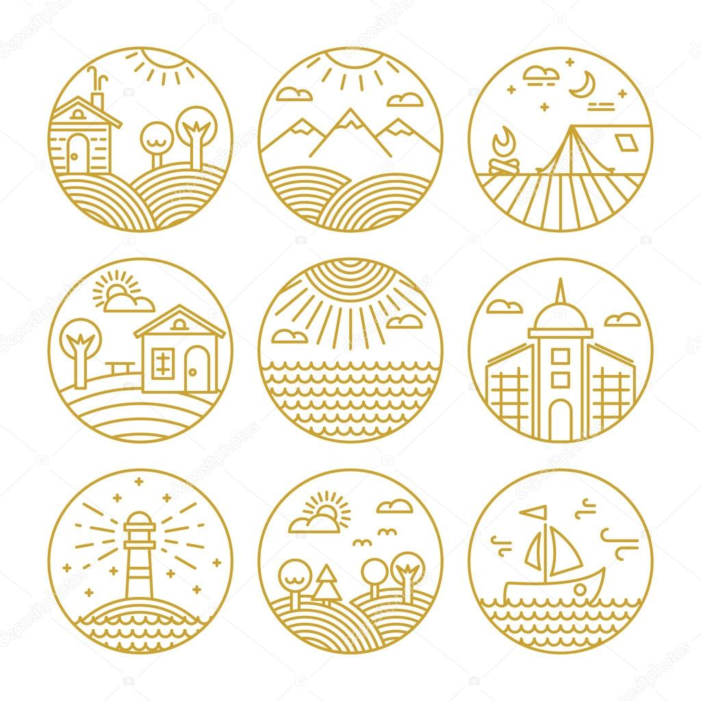 Vector concepts linear icons or badges and design elements with landscapes